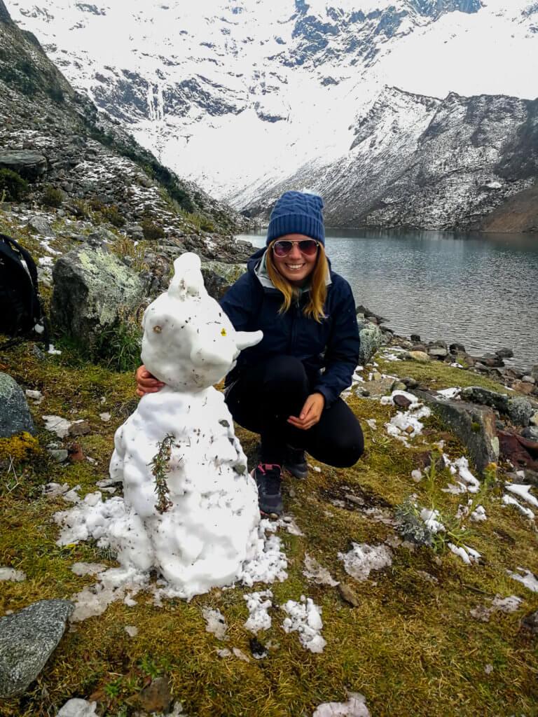 mit einem Schneemann