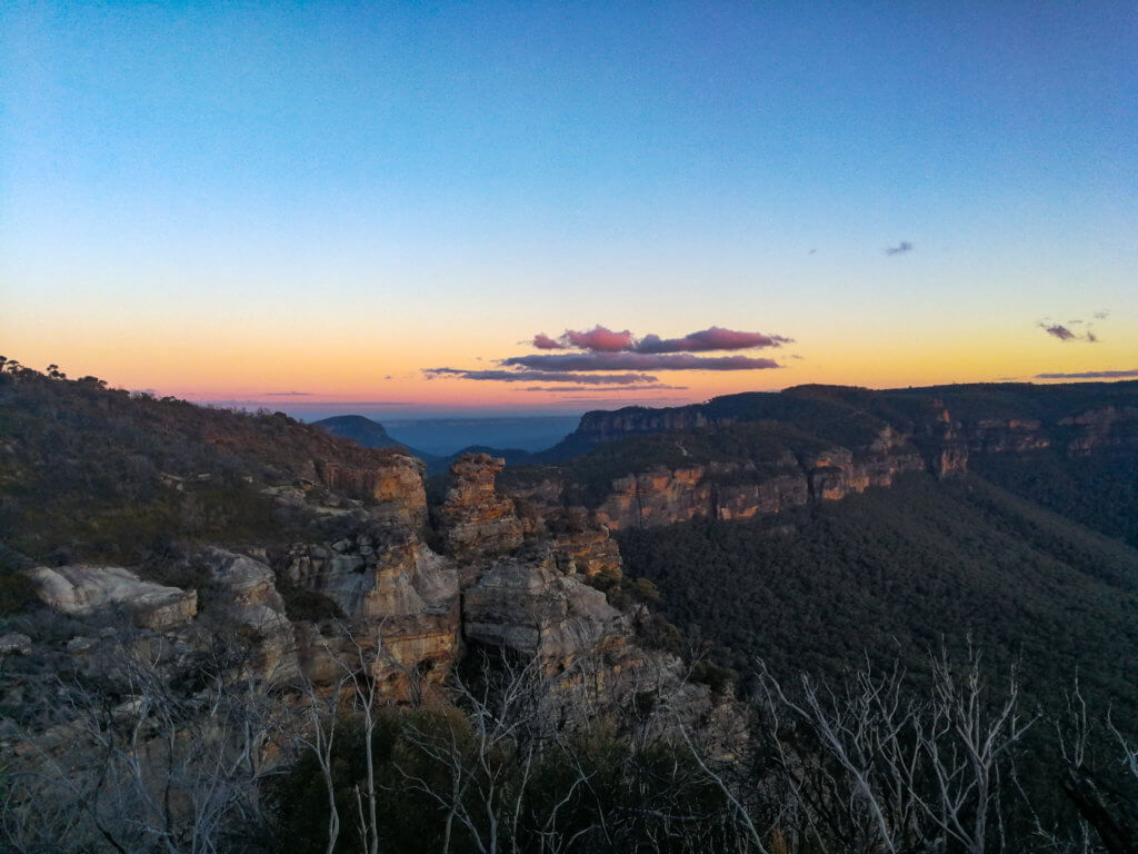 Sonnenuntergang in den Blue Mountains